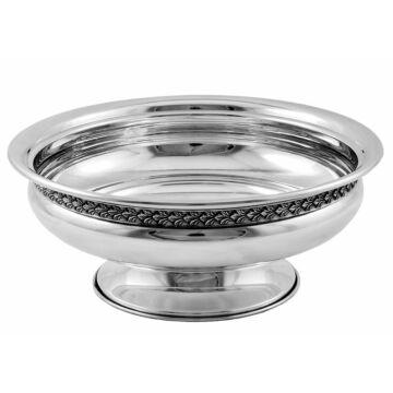 Ezüst dísztárgy - Sterling ezüst levélmintás talpas kínáló