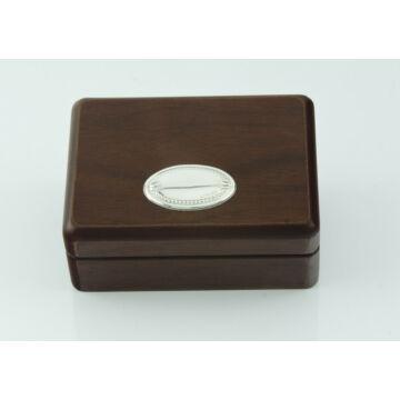 Ezüst-dísztárgy - Ezüst laminált fa díszdoboz (8x11 cm)