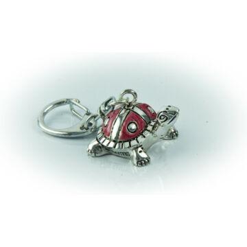 Ezüst-dísztárgy - Ezüst laminált teknősbéka kulcstartó, piros