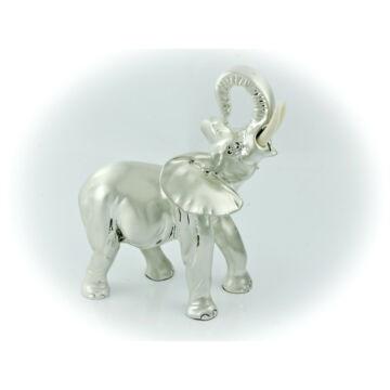 Ezüst állatfigura - ezüsttel laminált elefánt (17cm)