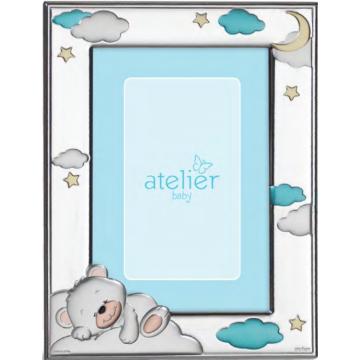 Ezüst fényképkeret - macis, kék (9x13 cm)
