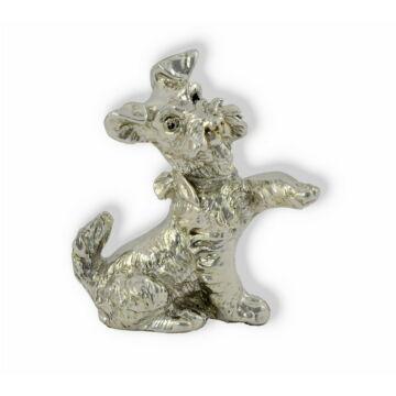 Ezüst állatfigura - Kutya - Játékos kutya