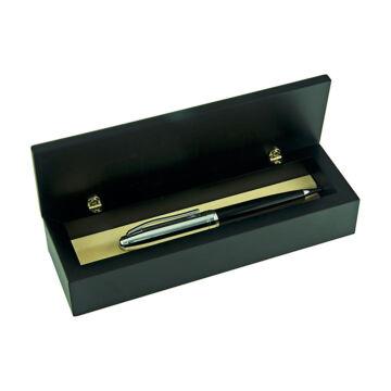 Ezüst-dísztárgy - ezüst díszítéssel fekete fa tolltartó (tollal)