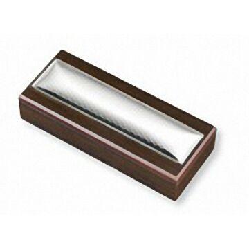 Ezüst-dísztárgy - ezüst díszítéssel barna fa tolltartó (tollal)