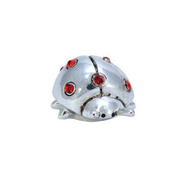 Ezüst-állatfigura - ezüst katicabogár piros kristályokkal