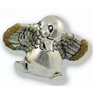 Ezüst állatfigura - Ezüst laminált vidám liba - arany glitteres