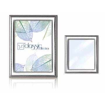 Ezüst fényképkeret - gyöngy mintával (13x18cm)
