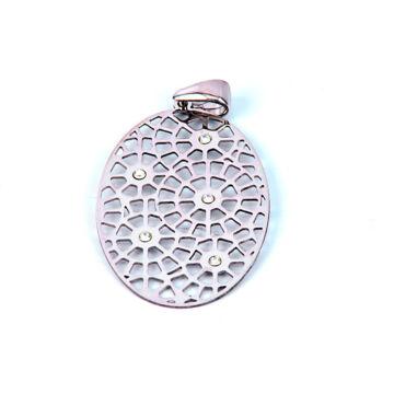 Ezüst ékszer  - Sterling ezüst medál áttört mintával, lánccal