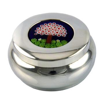 Ezüst tárgy - Sterling ezüst domború ékszertartó muránói üveggel