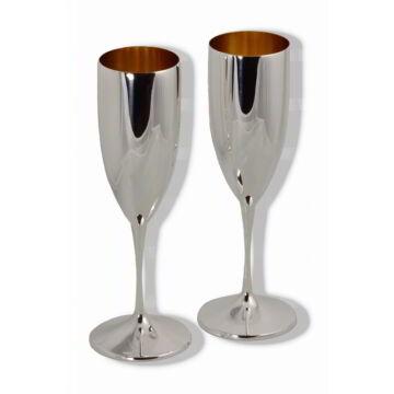 Ezüst dísztárgy - Sterling ezüst pezsgőspohár párban - díszdobozban