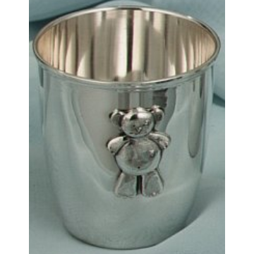 Ezüst dísztárgy - Sterling ezüst gyerekpohár maci mintával