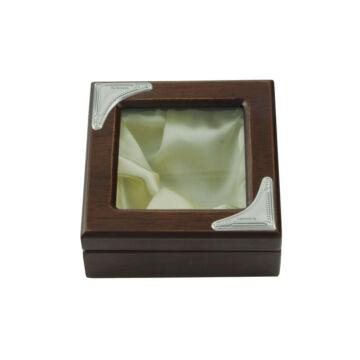 Ezüst-dísztárgy - Ezüst laminált fa díszdoboz üvegtetővel (10x10 cm)