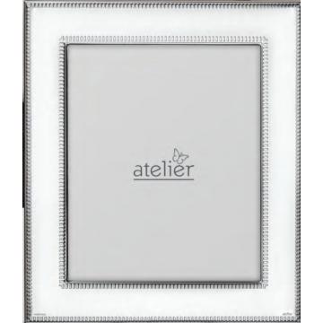 Ezüst fényképkeret - kívül és belül vonalas (13x18 cm)