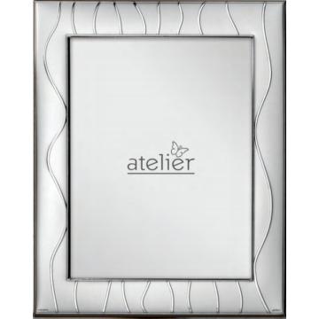 Ezüst fényképkeret - hullámvonalas mintával (15x20 cm)