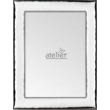 Ezüst fényképkeret - hullámos, belső díszítéssel (13x18 cm)