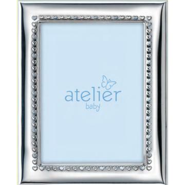 Ezüst fényképkeret - kék szívekkel (9x13 cm)