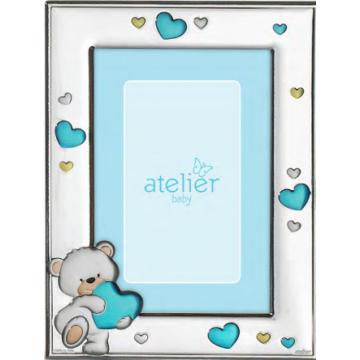 Ezüst fényképkeret - maci kék szívekkel (9x13 cm)
