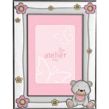 Ezüst fényképkeret - maci rózsaszín virágokkal (9x13 cm)