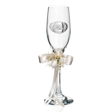 Dekoratív pezsgőspohár pár esküvőre, 2db