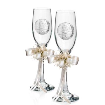 Dekoratív pezsgőspohár pár életfa díszítéssel, esküvőre, 2db
