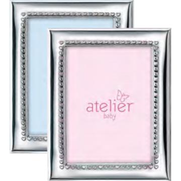 Ezüst fényképkeret - rózsaszín szívekkel (9x13 cm)