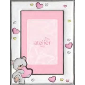 Ezüst fényképkeret - maci rózsaszín szívvel (9x13 cm)