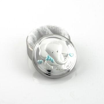 Ezüst-dísztárgy - Ezüst laminált fogtartó elefánt mintás doboz, kék