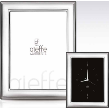 Ezüst fényképkeret - sima, keretezéssel, tükörrel (18x24cm)