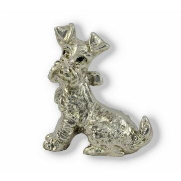 Ezüst állatfigura - Kutya - Játékos kutya masnival