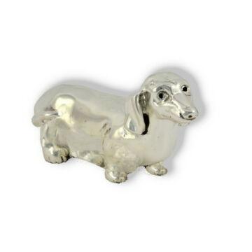 Ezüst állatfigura - Kutya - Tacskó