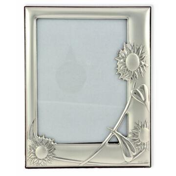 Ezüst fényképkeret - napraforgós (13x18 cm)