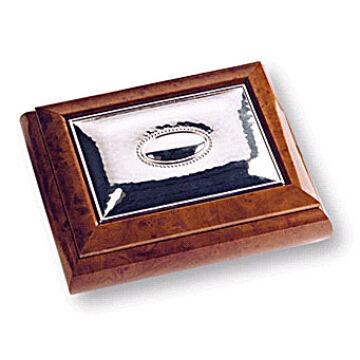 Ezüst-dísztárgy - Ezüst laminált fa díszdoboz - barna(13x11)
