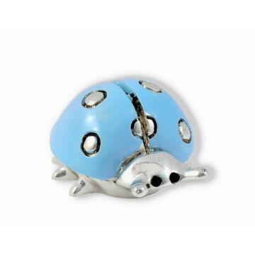 Ezüst állatfigura - Ezüsttel laminált katicabogár - világoskék