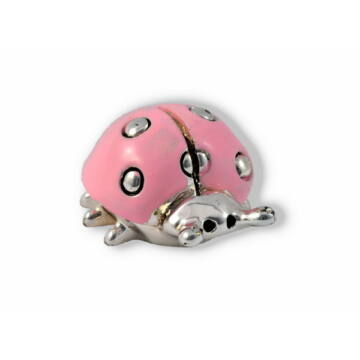 Ezüst állatfigura - Ezüsttel laminált katicabogár - rózsaszín