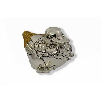 Ezüst állatfigura - Ezüst laminált ülő liba - arany glitteres