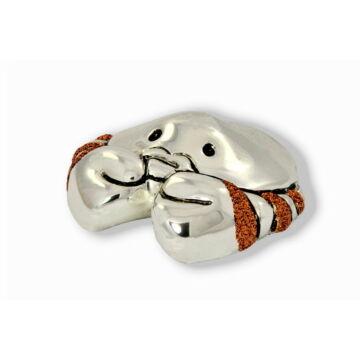 Ezüst állatfigura - Ezüsttel laminált rák glitterrel