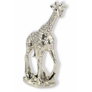 Ezüst állatfigura - ezüst laminált zsiráf  (15 cm)