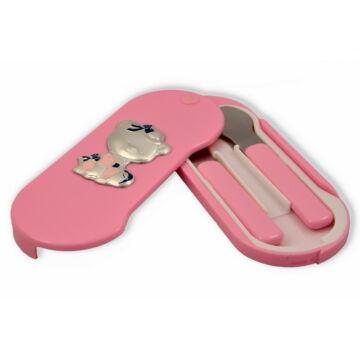 Ezüst-dísztárgy - Teáskanál és villa rózsaszín nyéllel, dobozban