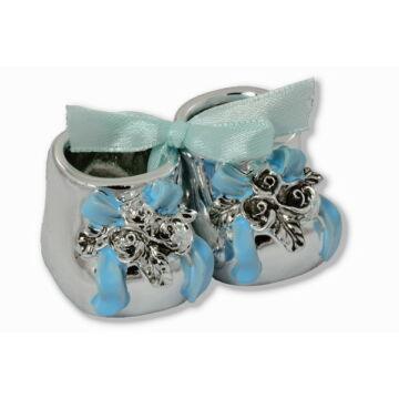 Ezüst-dísztárgy - Ezüst laminált babacipő, kék, dobozban