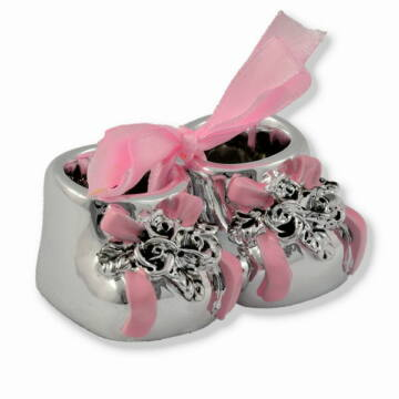 Ezüst-dísztárgy - Ezüsttel laminált babacipő - rózsaszín