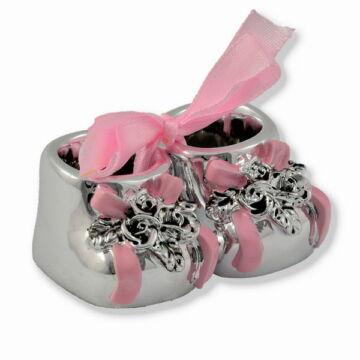 Ezüst-dísztárgy - Ezüst laminált babacipő, rózsaszín, dobozban