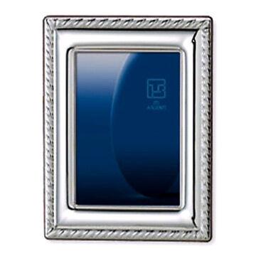 Ezüst fényképkeret - fonatos díszítéssel (18x24cm)