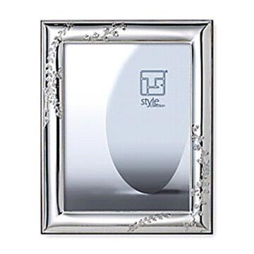 Ezüst fényképkeret tavaszi levél és faág díszítéssel (10x15cm)