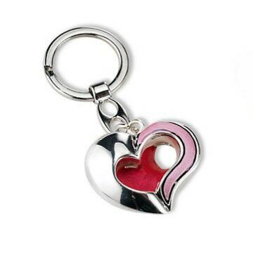 Ezüst-dísztárgy - Ezüsttel laminált szív kulcstartó