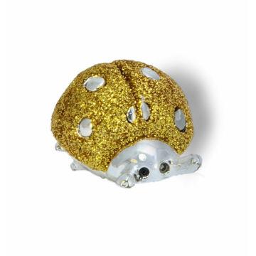 Ezüst-állatfigura - ezüst katicabogár arany glitteres (7cm)