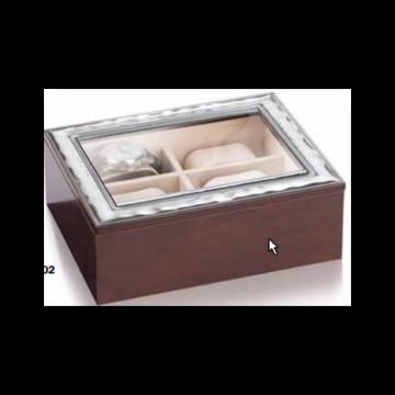 Ezüst dísztárgy - Ezüst lemezzel díszített óratartó díszdoboz, átlátszó