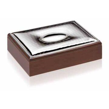 Ezüst dísztárgy - Ezüst laminált lemezzel díszített barna díszdoboz