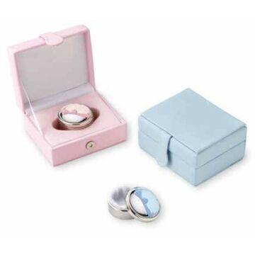 Ezüst dísztárgy-Ezüst laminált rózsaszín masnis fogtartó doboz dobozban