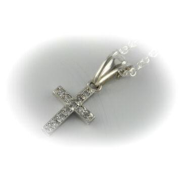 Ezüst ékszer  - Sterling ezüst kereszt medál cirkónia kővel, lánccal