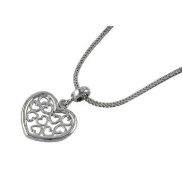 Ezüst ékszer  - Sterling ezüst szív medál, lánccal
